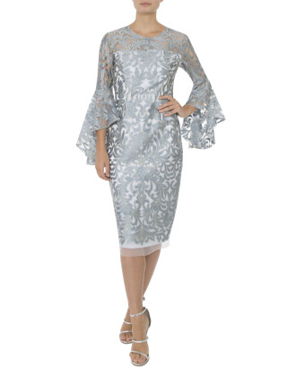 POWDER EMBROIDERED LUREX DRESS