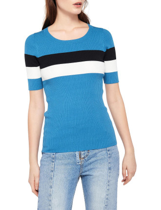 Mailys Striped Rib Knit Top