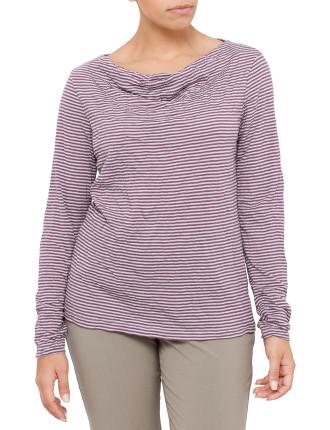 Cowl Neck Crushed Stripe T-Shirt - Petite Size