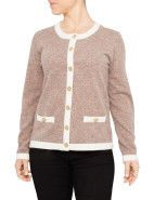 LONG SLEEVE TIPPING CARDI WITH GOLD BUTTONS $119.00