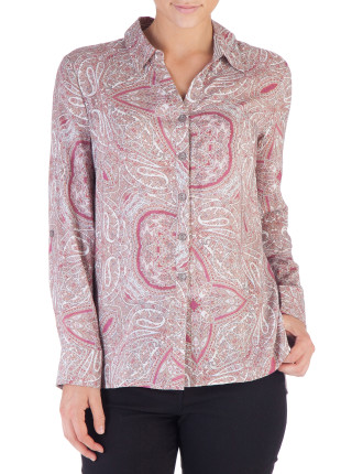 Portabello Paislely Shirt W Tab Sleeve