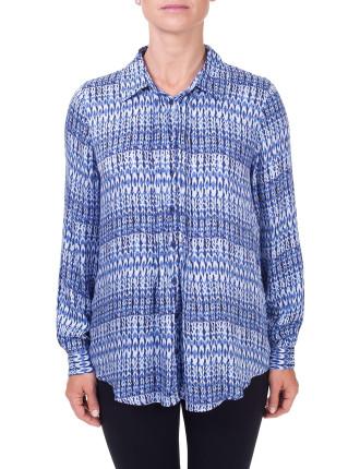 Blue Dawn Stitch Print Pintuck Shirt