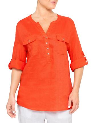 Mandarin Linen Top