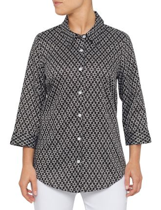 3/4 SLEEVE MONO LEAF PRINT SHIRT