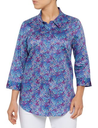3/4 SLEEVE MINI FLORAL PRINT SHIRT