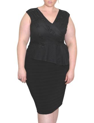 BANDAGE BOTTOM DRESS W/ANGLE PEPLUM