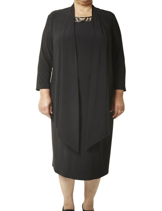 SHORT COAT DRESS W/BEADED TRIM