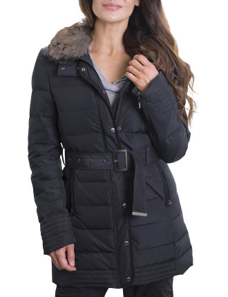Quilted Long Line Jacket Down And Feather Fill