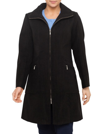 ZIP FRONT FUNNEL NECK COAT