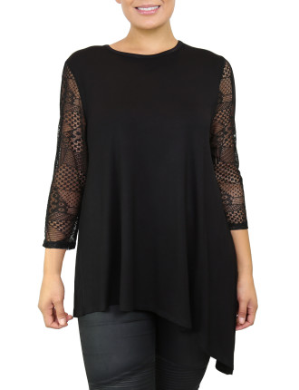 Lace Sleeve Assymetrical Top