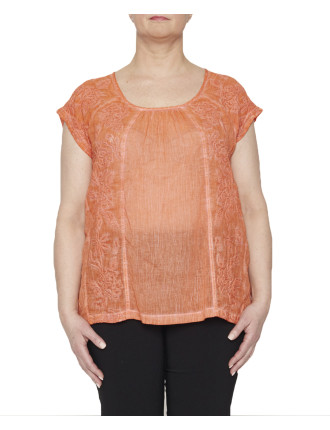 Spray Dyed Voile Emb Top