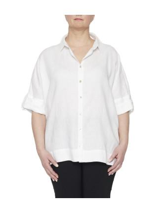 Relaxed Linen Tab Sleeve Shirt