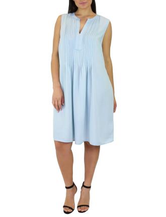 Pintucked Chambrey Dress