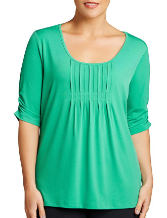 Pleat Front Top 3/4 Slv