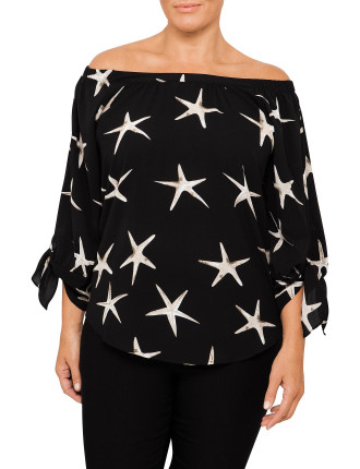 Starfish Print Gather Neck Top
