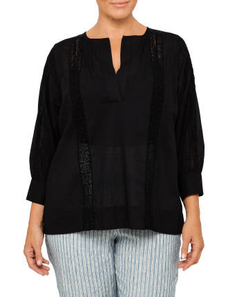 Lace Insert Voile Shirt