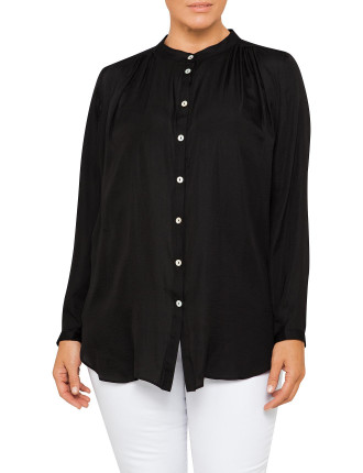 Nehru Collar Luxe Pleat Shirt