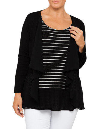 Ggt Trim Knit Edge To Edge Cardigan