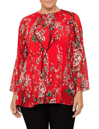 Pleat Detail Print Tunic Top