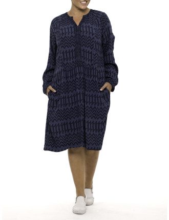 L/S Printed Embroidered Dress