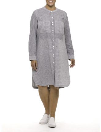 L/S Stripe Shirtmaker Dress