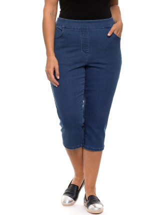 CROP PULL ON JEAN
