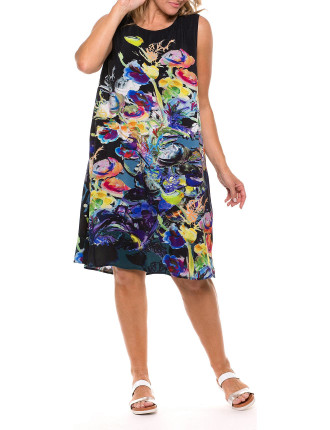 Sleeveless Garden Print Dress