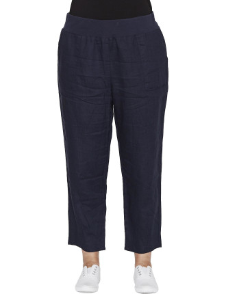 Ribbed Waist Linen Pant