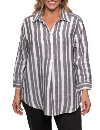 3/4 Stripe Linen Shirt