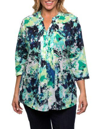 3/4 Sl Floral Print Shirt
