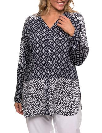 Long Sleeve Spliced Print Shirt