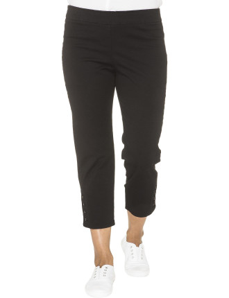 Button Trim Cropped Stretch Pant