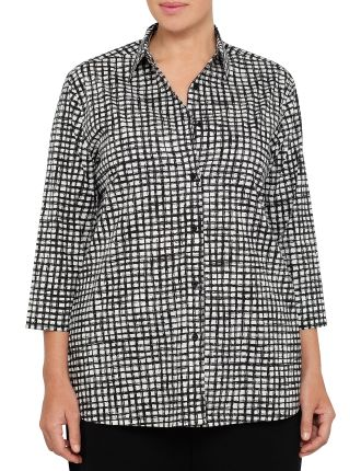 Three Quarter Sleeve Stretch Poplin Shirt