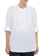 Broderie Lace Inset Tunic Shirt With Tab Sleeve Detail $129.00