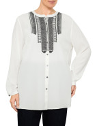 MARSEILLE NEHRU COLLAR EMBROIDERED LONGLINE SHIRT $129.00