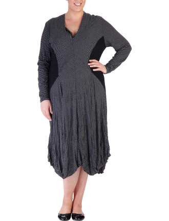 Spliced Plain & Stripe Crushed Jersey Drape Hem Dress