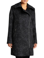 Asymetric Zip Front Trim Collar Coat $159.95