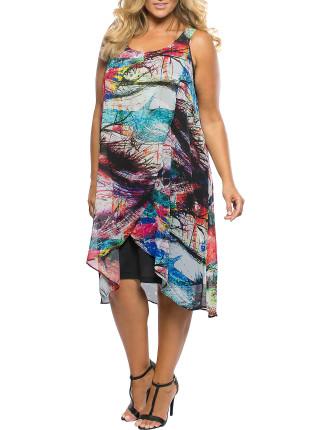 SPLASH GGT PRINT & JERSEY OVERLAY DRESS
