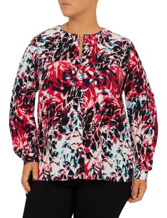 Long Tab Sleeve Print Blouse