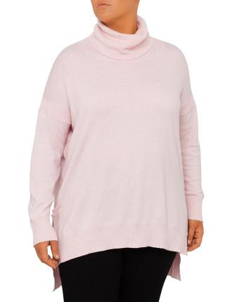 Ls Cowl Neck Stepped Hem Sweater