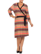Print Jesrey Mock Wrap Dress $49.95