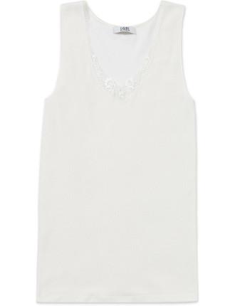 Cotton Wool Vest W/Lace