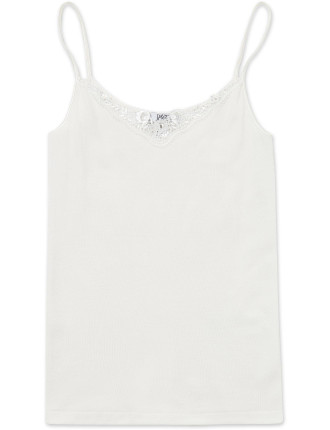 Cotton Wool Cami W/Lace