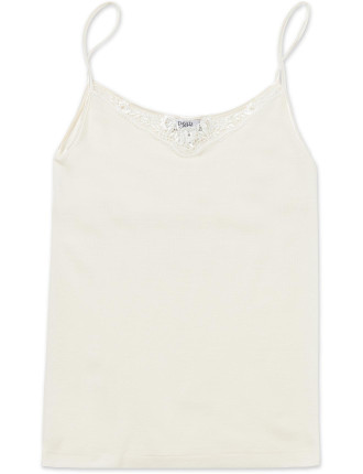 Silk Wool Cami W/Floral Lace