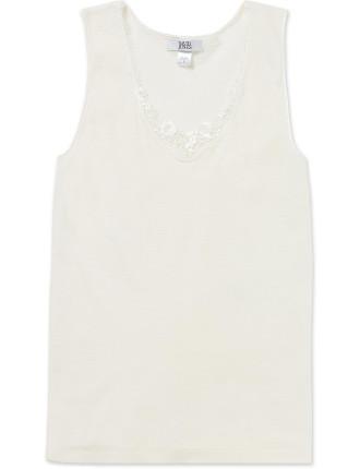 Silk Wool Vest W/Floral Lace