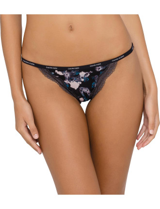 Sheer Marquisette with Lace String Bikini