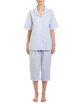 Check Short Sleeve Capri Pyjama