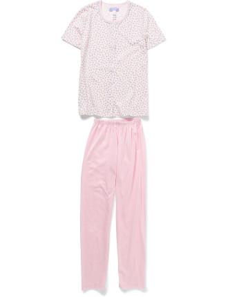 Short Sleeve Button Down Floral Pyjama Set
