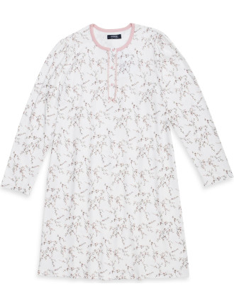 Floral Blossom Round Neck Button Up Long Sleeve Nightie