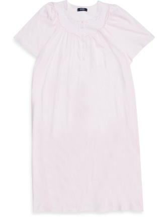 Round Neck Short Sleeve Nightie with Lace Neck